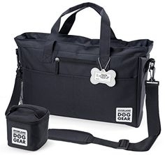 Dog Travel Bag - Day Away Tote For All Size Dogs - Includes Bag, Lined Food Carrier, And Luggage Tag