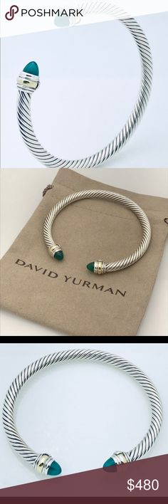 David Yurman Silver Bracelet w Green Onyx and Gold 100% Authentic Pre-Owned Fast and Safe Shipping  Trusted Seller I Accept Offers! Professionally Polished to Look New Comes with Pouch 925 Sterling Silver 14K Yellow Gold Green Onyx Stones 5mm wise Cable Cable Classics Collection Could Pass as New, No imperfections David Yurman Jewelry Bracelets