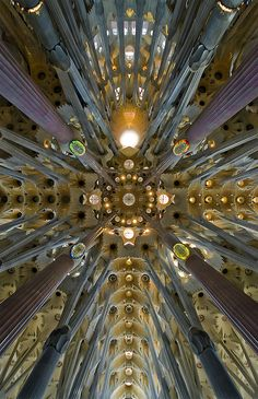 Gaudi... Work began in 1882 and should be completed in 2026  .. this is the crossing and dome of the Sagrada Família basilica, Barcelona, Catalonia.
