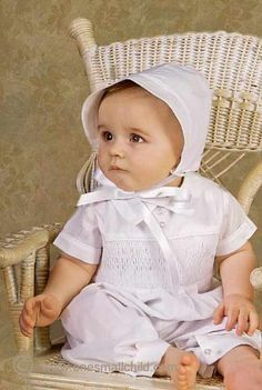 Gilbert 9-12 Month cotton smocked christening outfit