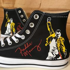 High top converse hand painted with the iconic Freddie Mercury image and signature. The perfect gift for any Queen fan! Custom Converse, Custom Shoes, Converse Shoes, Queen Meme, Queen Outfit, Queen Freddie Mercury, Queen Band, Hand Painted Shoes, Killer Queen
