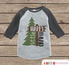 Kid's Happy Little Camper Outfit - Grey Raglan Shirt, Onepiece - Kids Baseball Tee - Camp Shirt Baby, Toddler, Youth - Adventure Clothing