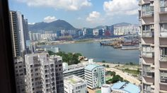 view of a section of Hong Kong from my airbnb apartment across the way in Kowloon