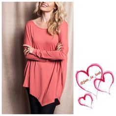 Asymmetrical Top Medium This is a cute salmon asymmetrical top. Wear with leggings or skinny jeans. This is a cotton polyester blend top. Fit is true to size (women's sizes). Listing is for a medium No Trades ✅ Offers Considered*✅ *Please use the blue 'offer' button to submit an offer. Tops Tunics