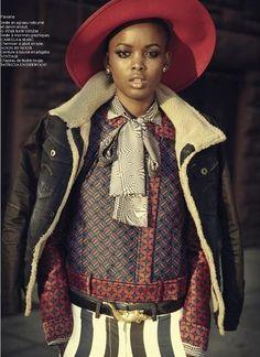 Flaviana Matata  & Nykhor Paul - French Revue des Modes  F/W 2013 (part 2)  Thierry LeGoues (Photographer)  Marcell Rocha (Fashion Editor/Stylist)  Mayia Alleaume (Makeup Artist)  (via fashionsambapita)