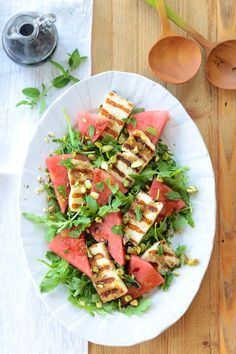 Grilled Halloumi and Watermelon Salad from Camille Styles. Any excuse to eat halloumi...
