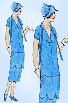 1920s Vintage Pictorial Review Sewing Pattern 2672 Misses Flapper Dress Sz 38 B