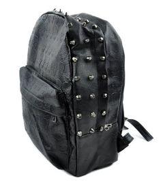 Black Vinyl Skull Backpack for School or Travel