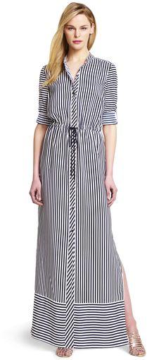 Adrianna Papell Striped Maxi Shirtdress - #moldes #dicas #moda