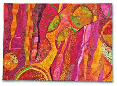 Hilde Morin art quilt pink orange yellow