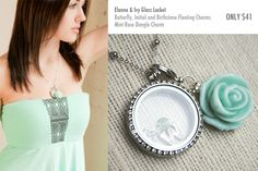 Elanne & Ivy Glass Locket with Butterfly, Initial and Birthstone Floating Charms and Mint Rose Dangle Charm only $41