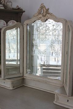 Antique Mirror for a vanity~Pretty detail~❥