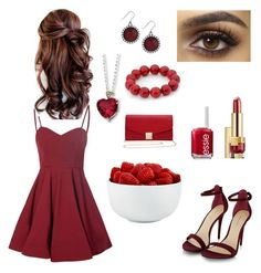 """""""❣Rich Raspberries❣"""" by forevercrazyfashiondivas ❤ liked on Polyvore featuring Estée Lauder, Glamorous, Essie, Lucky Brand, Kevin Jewelers, M&Co and The Cellar"""