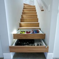Great idea for space under the stairs! www.barbaralyn.com