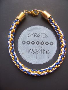 Brewers Inspired Rat tail Kumihimo Bracelet by CreateTooInspire, $8.00