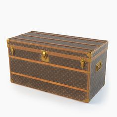 Louis Vuitton Trunk by Dmitriy Kalko on Painted Trunk, Hand Painted Furniture, Wooden Cart, Photorealistic Rendering, Louis Vuitton Trunk, Luggage Trolley, Trunks, 3d Assets, Urdu Novels