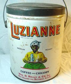 1928 LUZIANNE COFFEE  CHICORY LITHO TIN CAN w/ BALE HANDLE WM B REILY  CO. INC -   $ 79.95