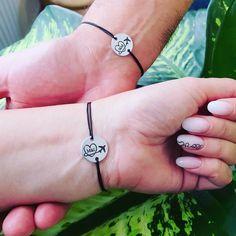 Long Distance Relationship Bracelets, Couple Bracelets, Sliding Knot, Matching Couples, Hand Stamped, Initials, Handmade, Jewelry, Slipknot