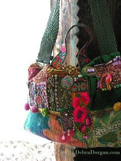 Green Bag, The Mekong, Large Bag, Antique Embroidery, Colourful, Pom Poms, Toucan, Beaded, Boho