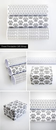 Free Dog Themed Gift Wrap Download - 'Pawsome'!