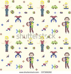 Characters pixel people 8 bit style Mothers and cute Babies. Seamless vector pattern. Different pixel characters, women and children with their toys on light background for games or cross-stitch