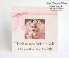 BABY BOY GIRL PICTURE FRAME light pink blue 4x6 Keepsake Nursery Decor Announcem