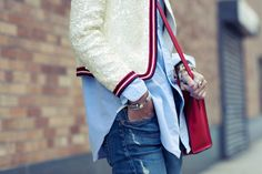 Oxford, boyfriend jeans and sequin with a tough or red.