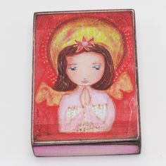 Unique Catholic First Communion Gift - Angel Girl Praying Block Art First Communion Gifts, Religious Gifts, Catholic, Boy Or Girl, Pray, Little Girls, Aurora Sleeping Beauty, Block Art, Disney Princess