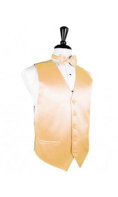 Apricot Solid Satin Tuxedo Vest