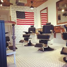 American Spirit being shown at the barber shop.
