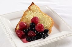 Limoncello Cream Cheese Pound Cake with Fresh Berries