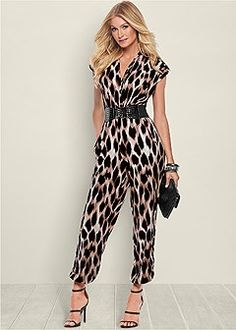 Make a loud statement with animal print! Venus belted leopard jumpsuit with Venus high heel strappy sandal and Venus faux alligator clutch. Jumpsuit Dressy, Casual Outfits, Fashion Outfits, Printed Jumpsuit, Playsuits, Holiday Outfits, Clothes For Sale, Jumpsuits For Women, Rompers