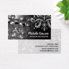 Chandelier & Damask Interior Decorator Business Card - wedding planning checklist cyo helper helpers