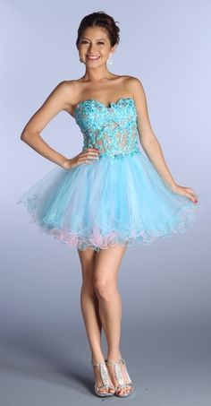 Turquoise/Yellow Poofy Prom Dress Strapless Sexy Corset Rhinestone ...
