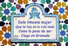 Dale limosna, mujer, que no hay en la vida nada como la pena de ser ciego en Granada.  (Francisco A. de Icaza)