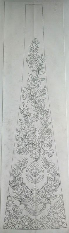 Hand Embroidery Design Patterns, Diy Embroidery, Cute Flower Drawing, Beadwork Designs, Beading Techniques, Pattern Design, Lahenga, Jacobean, Bridal Lehenga