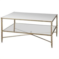 Lowest price online on all Uttermost Henzler Mirrored Glass Coffee Table in Gold - 24276