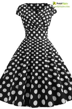 Black and white polka dot wrap dress is perfect for a semi-formal event. Midi style wrap dress for women formal wear fashion. Stylish Dresses, Casual Dresses, Elegant Dresses, Formal Dresses, Black Prom Dresses, Short Sleeve Dresses, Formal Wear Women, Shops, Casual Street Style