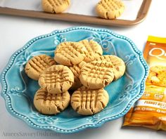 A simple recipe for delicious protein cookies made with peanut butter, egg, maple sugar and Quest protein powder from Amee's Savory Dish