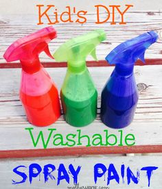 Washable spray paint + other summer boredom busters. Great kid's DIY craft ideas for summer fun!
