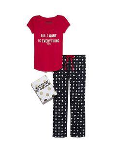 Tee & Flannel PJ Pant Gift Set - Red&Black - size M - PINK - Victoria's Secret