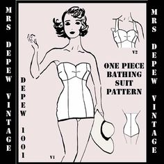 Vintage Style Sewing Pattern 1950's Inspired One Piece Bathing Suit Depew 1001 PDF Printable Pattern