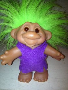 1986 Dam Troll with Purple Clothes and Green Hair. Vintage 80's toys.