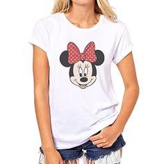 Mickey Mouse Disney Dope Icon Swag Colour Minnie Smyling Head Quality Large Mujer T-Shirt #camiseta #friki #moda #regalo