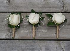 Ashley Spizziri Events - White rose with baby breath wrapped in burlap boutonnieres for a Toronto Rustic Wedding.
