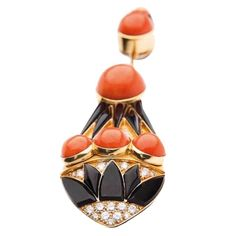 Bulgari Impressive Art Deco Coral Onyx Diamond Gold Brooch | From a unique collection of vintage brooches at https://www.1stdibs.com/jewelry/brooches/brooches/