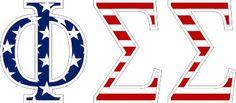 """Phi Sigma Sigma American Flag Greek Letter Sticker - 2.5"""" Tall from GreekGear.com"""