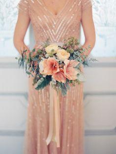 Peach bridesmaid dress and a peach bouquet: http://www.stylemepretty.com/little-black-book-blog/2014/12/08/blackberry-mint-winter-wedding-inspiration/ | Photography: Nancy Ray - http://nancyrayphotography.com/