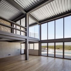 Gallery of M House / MDBA & Guallart Architects - 2 - Steel frame house - Residential Steel Buildings, Metal Buildings, Steel Frame House, Steel House, Building A Pole Barn, Building A House, Steel Building Homes, Warehouse Design, Casas Containers