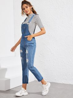 Ripped Pocket Front Denim Overall Denim Dungaree Shorts, Denim Jumpsuit, Denim Overalls, Denim Outfit, Trendy Dresses, Trendy Outfits, Nice Dresses, Summer Outfits, Cute Outfits